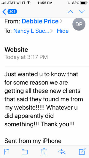 testimonial from salon owner for website designer